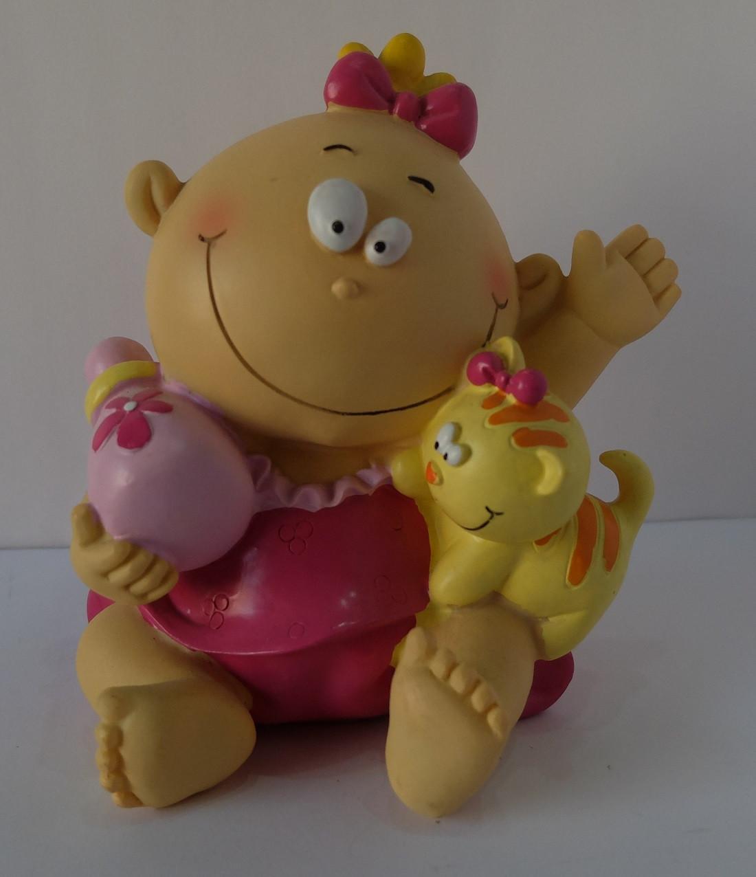 Tirelire bébé souriant fille