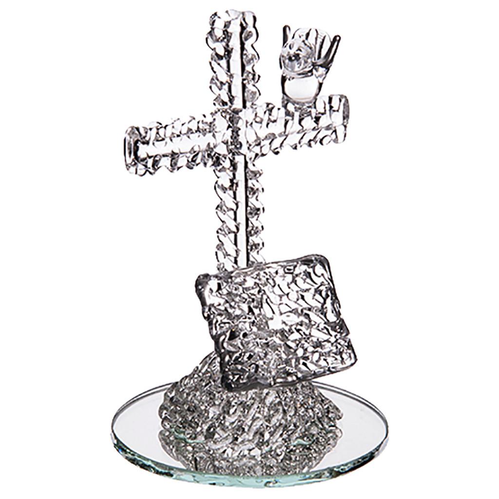 Croix en verre avec son oiseau et sa bible
