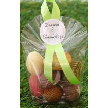 Présentation d'oeufs en chocolat belge