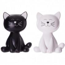 tirelire en forme de chat blanc ou chat noir