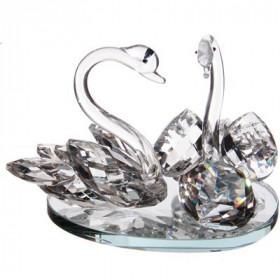 Couple de cygnes sur miroir verre cristallin - Grand modèle