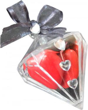 Présentation de la boîte Diamant - dragées coeur rouge
