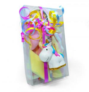 Boîte de carrés magiques et son porte clé licorne