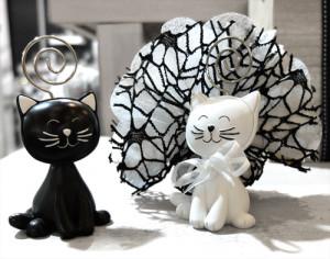 chat noir et blanc porte-photo à offrir